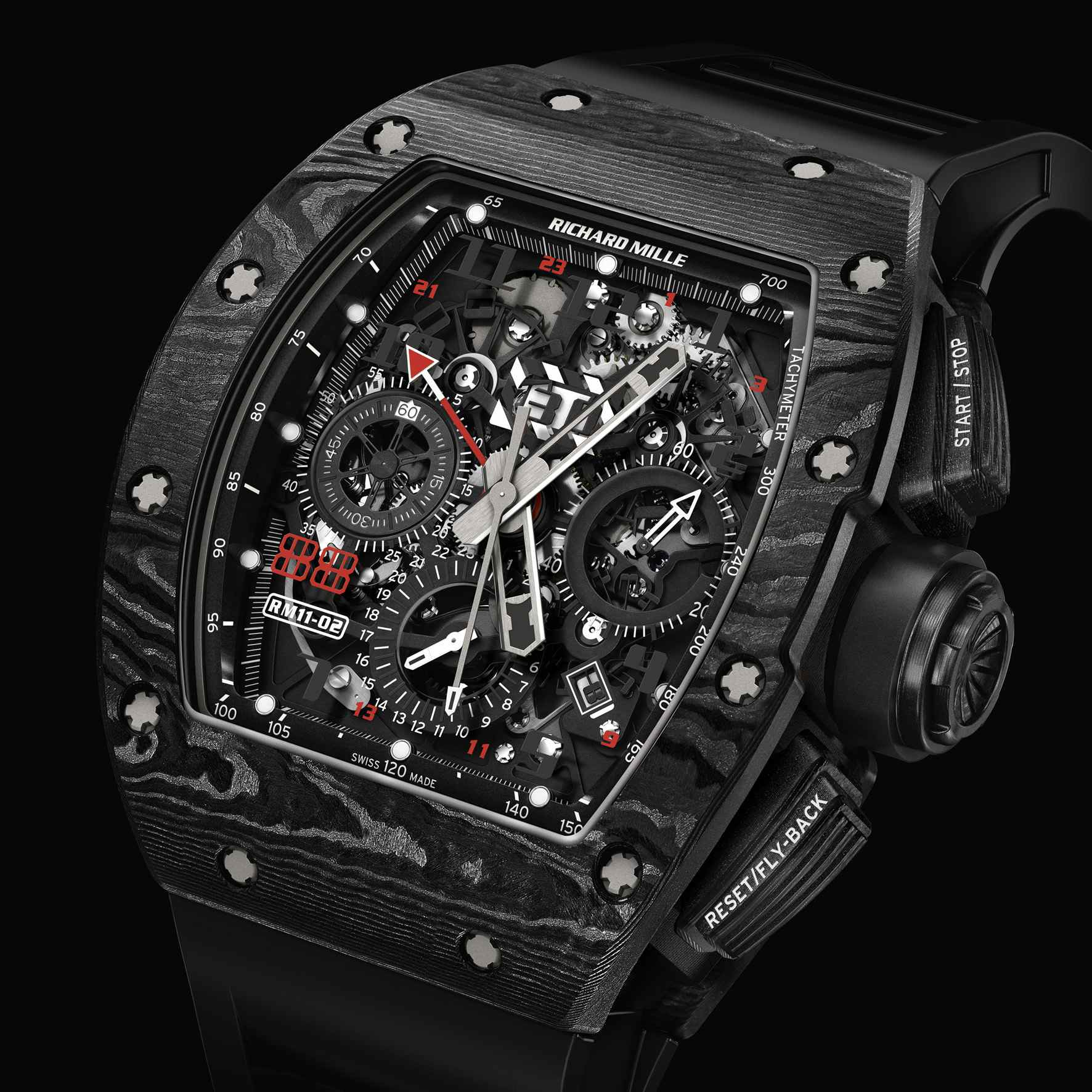 Richard Mille RM 11-02 Automatic Flyback Chronograph Dual Time Zone Jet Black Replica
